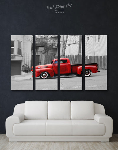 4 Panels Old Car Wall Art Canvas Print - 4 Panels bachelor pad Car grey Hallway