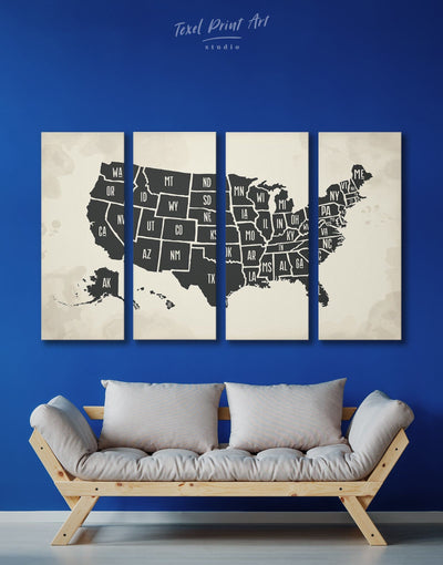 4 Panels Original US Map Wall Art Canvas Print - 4 Panels bedroom black black and white wall art Contemporary