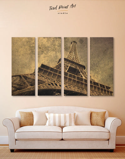 4 Panels Paris Attraction Wall Art Canvas Print - 4 Panels bedroom eiffel tower wall art french wall art Living Room