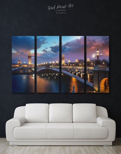 4 Panels Paris Bridge Wall Art Canvas Print - 4 panels bedroom Bridge Cityscape french wall art