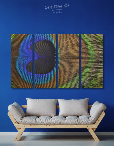 4 Panels Peacock Feathers Wall Art Canvas Print - 4 Panels Abstract bedroom bird wall art blue and green wall art