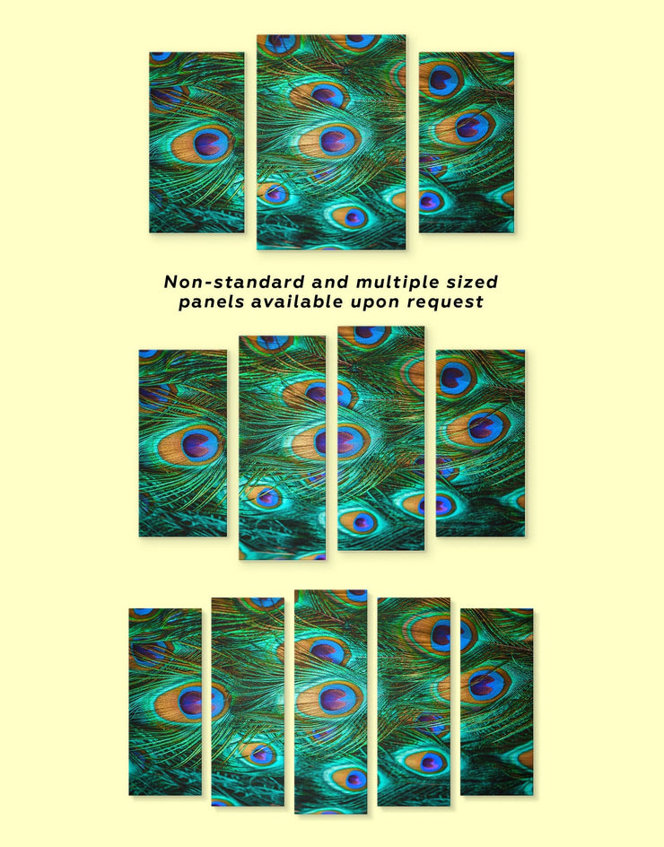 4 Panels Peacock Wall Art Canvas Print - 4 panels Abstract bedroom Feather Wall Art Green