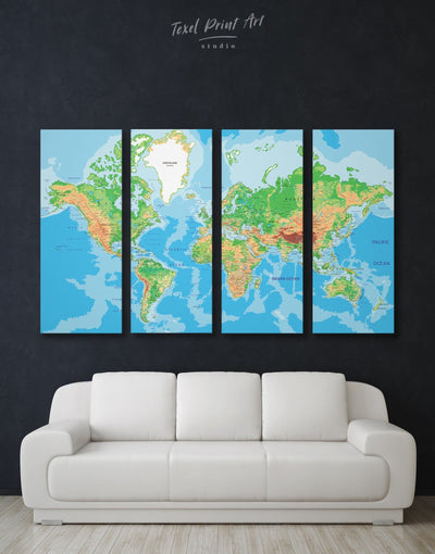 4 Panels Physical World Map Wall Art Canvas Print - 4 Panels bedroom blue and green wall art Living Room Push pin travel map