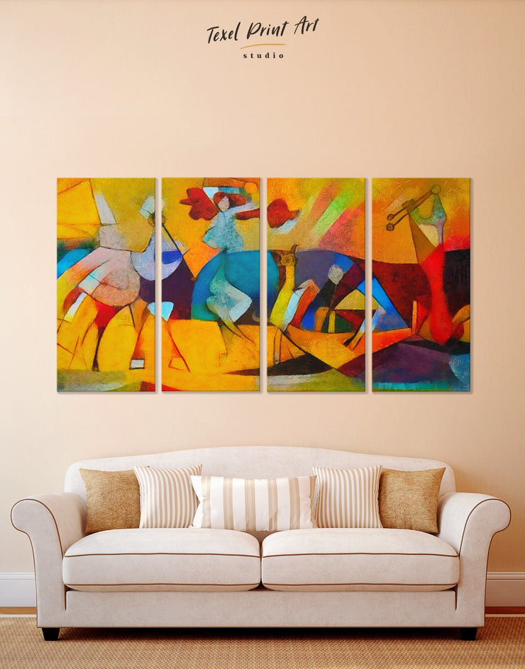 4 Panels Picasso Wall Art Canvas Print - 4 panels Abstract art gallery wall bedroom Contemporary