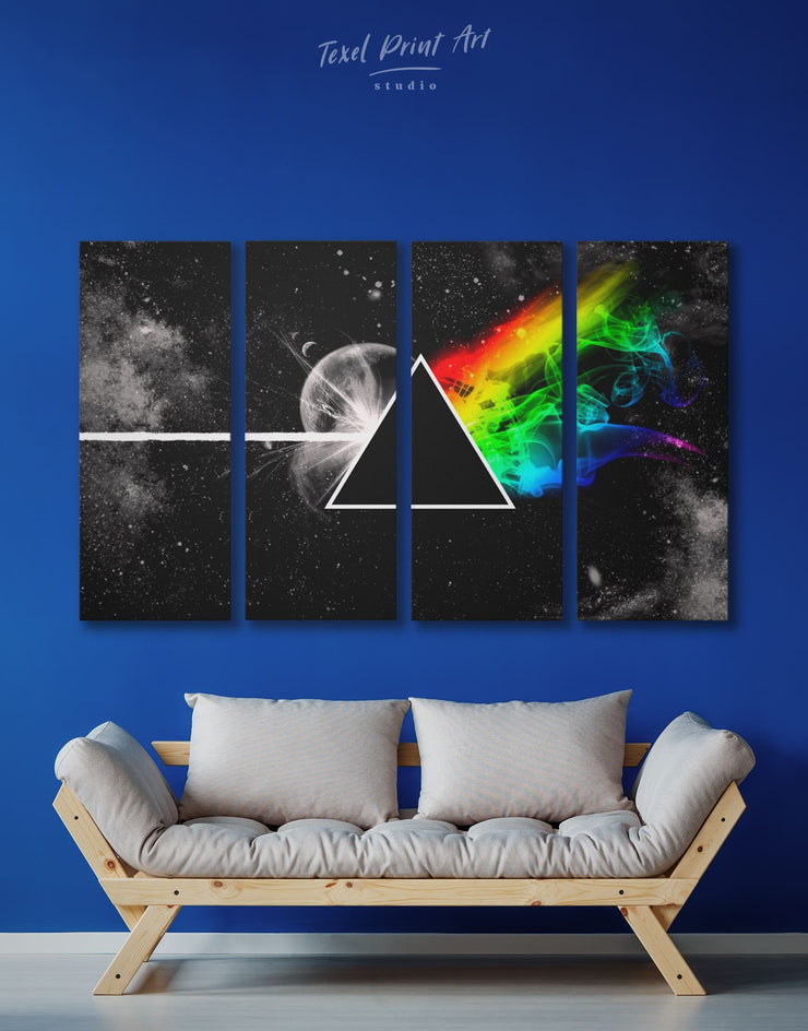 4 Panels Pink Floyd Classic Rock Wall Art Canvas Print - 4 Panels Abstract bedroom Black Living Room
