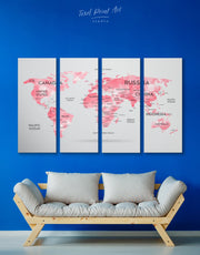 4 Panels Pink Modern Map Wall Art Canvas Print