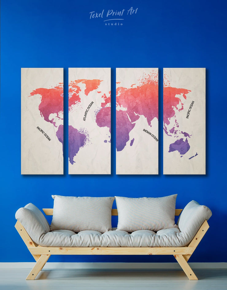 4 Panels Pink Watercolor World Map Wall Art Canvas Print - 4 Panels Abstract map bedroom Living Room Office Wall Art