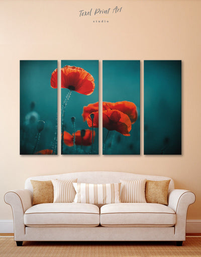 4 Panels Poppy Wall Art Canvas Print - 4 Panels bedroom Blue Dining room flora