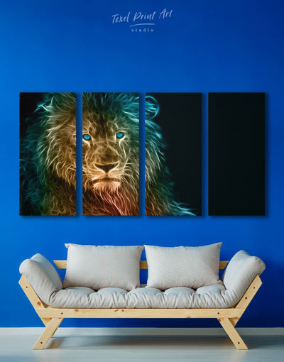 4 Panels Powerful Lion Wall Art Canvas Print - 4 Panels Animal Animals bedroom Black