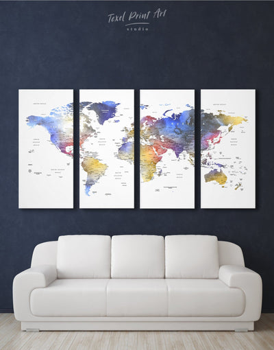 4 Panels Push Pin World Map Wall Art Canvas Print - 4 Panels bedroom Blue blue and white contemporary wall art