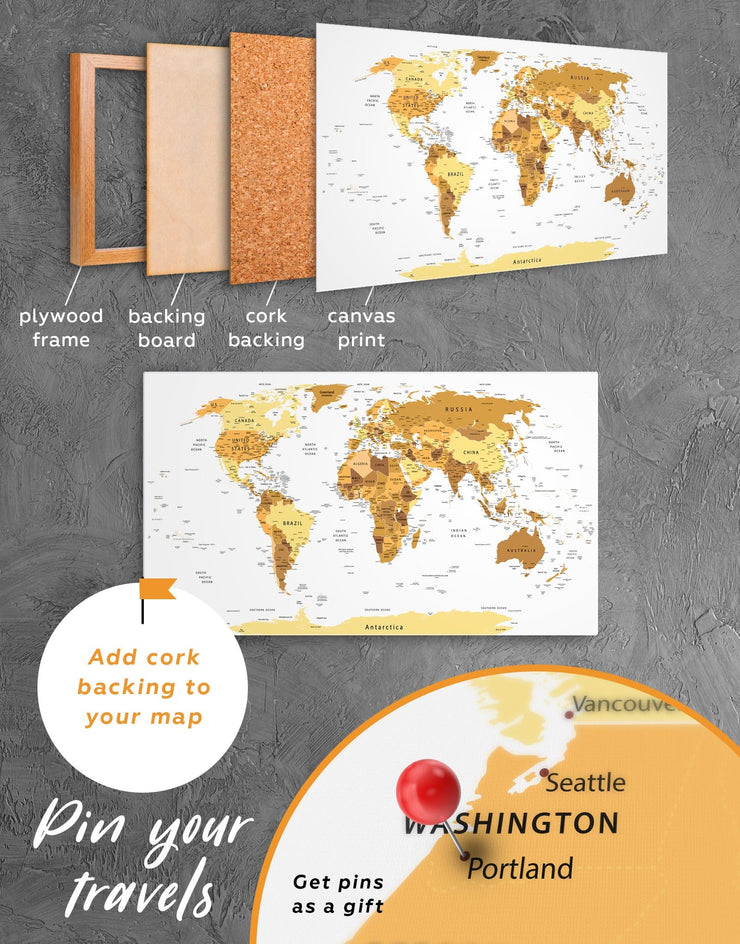 4 Panels Pushpin World Map Wall Art Canvas Print - 4 Panels bedroom contemporary wall art Gold gold world map
