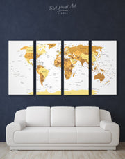 4 Panels Pushpin World Map Wall Art Canvas Print
