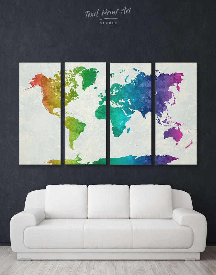 4 Panels Rainbow World Map Wall Art Canvas Print - 4 panels Abstract map abstract world map wall art bedroom Living Room