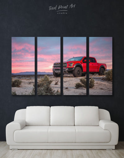 4 Panels Red Ford Raptor Wall Art Canvas Print - 4 Panels bachelor pad Car garage wall art Hallway