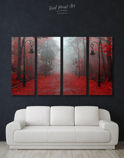4 Panels Red Forest Wall Art Canvas Print - 4 Panels bedroom forest wall art Hallway landscape wall art