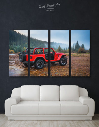 4 Panels Red Jeep Wrangler Wall Art Canvas Print - 4 Panels bachelor pad Car garage wall art wall art for men
