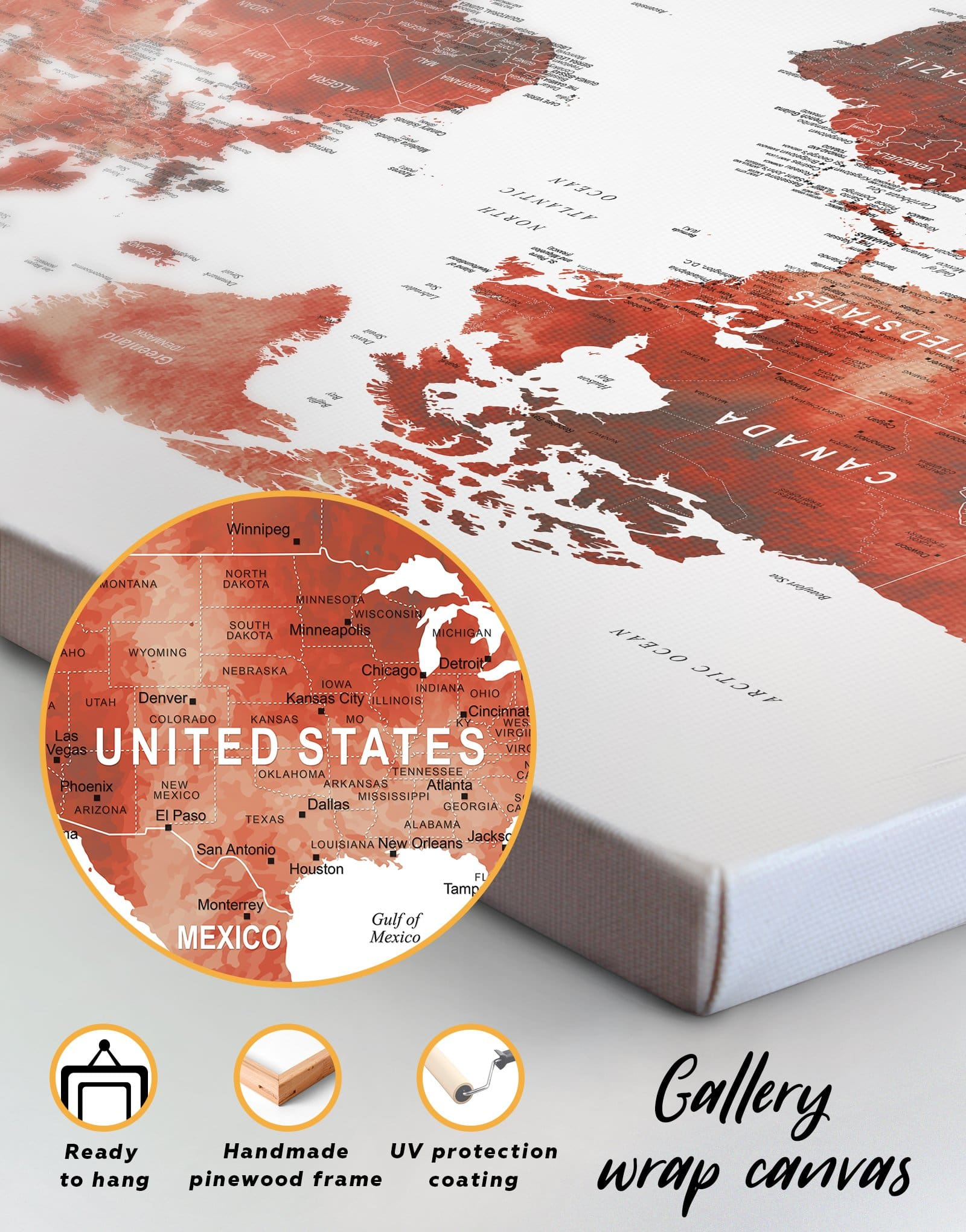 4 Panels Red Map of the World With Pins Wall Art Canvas Print at