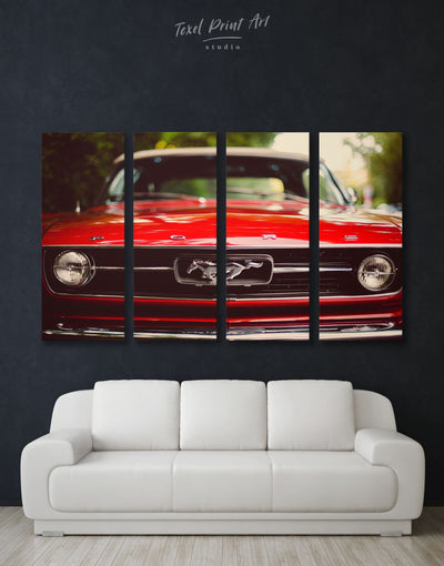 4 Panels Red Mustang Wall Art Canvas Print - 4 Panels bachelor pad Car garage wall art Hallway