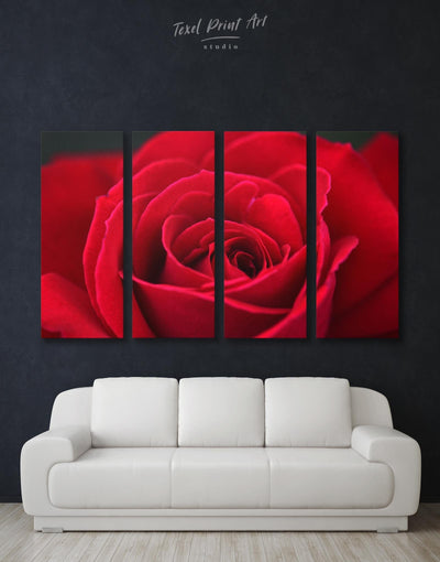 4 Panels Red Rose Wall Art Canvas Print - Canvas Wall Art 4 Panels bedroom flora Floral flower