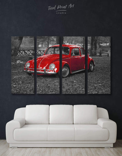 4 Panels Retro Car Wall Art Canvas Print - 4 Panels bachelor pad car garage wall art Grey