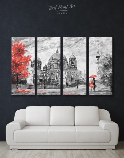 4 Panels Romantic Couple in Berlin Wall Art Canvas Print - 4 Panels bedroom grey Hallway Living Room