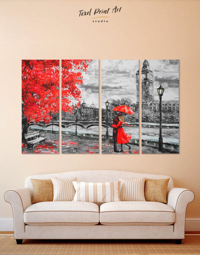 4 Panels Romantic Wall Art Canvas Print - 4 panels bedroom Living Room london wall art love wall art