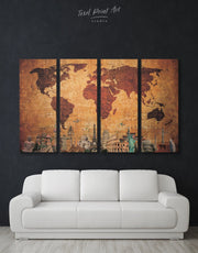 4 Panels Rustic Map of the World Wall Art Canvas Print
