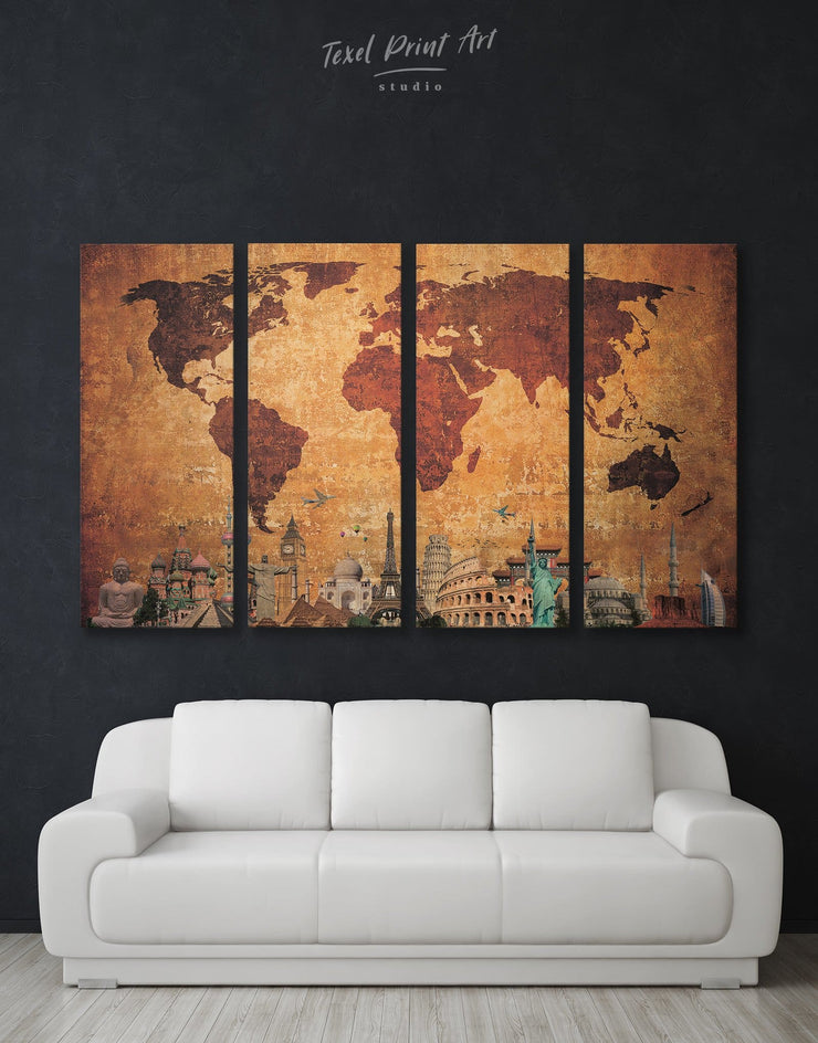 4 Panels Rustic Map of the World Wall Art Canvas Print - 4 Panels Abstract Abstract map bedroom Brown