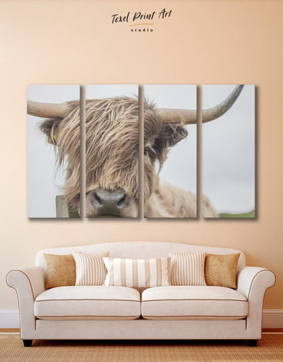 4 Panels Scottish Cow Wall Art Canvas Print - 4 panels Animal bedroom cow canvas wall art Dining room