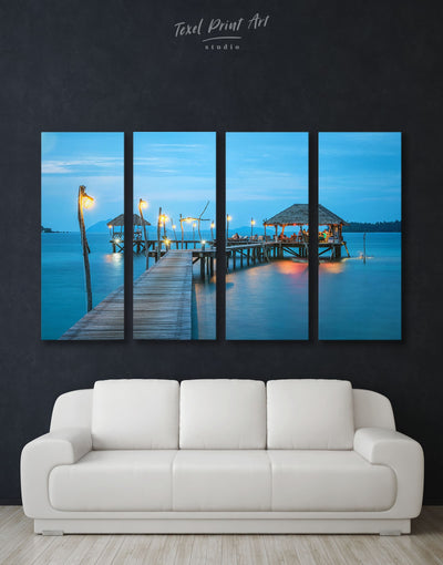 4 Panels Seaside Wall Art Canvas Print - 4 Panels bedroom Blue Blue Wall Art blue wall art for bedroom