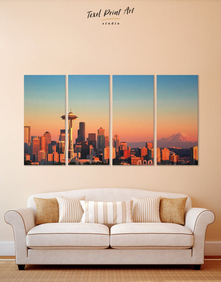 4 Panels Seattle Skyline Wall Art Canvas Print - 4 Panels bedroom Blue City Skyline Wall Art Cityscape