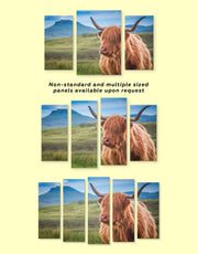 4 Panels Shaggy Cow Wall Art Canvas Print