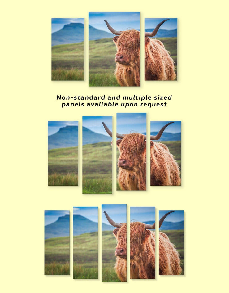 4 Panels Shaggy Cow Wall Art Canvas Print - 4 Panels Animal Animals bedroom cow canvas wall art
