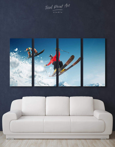 4 Panels Skiing Canvas Prints Wall Art - Canvas Wall Art 4 Panels bachelor pad Hallway inspirational wall art Living Room