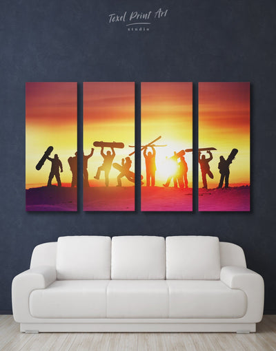 4 Panels Snowboarders Wall Art Canvas Print - 4 Panels Brown inspirational wall art Motivational Orange