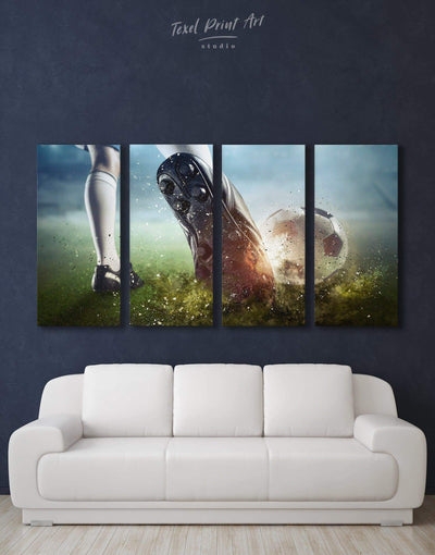 4 Panels Soccer Wall Art Canvas Print - Canvas Wall Art 4 Panels