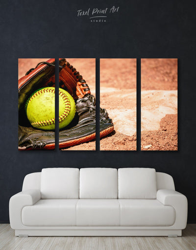 4 Panels Softball Wall Decor Canvas Print - Canvas Wall Art 4 Panels Living Room Office Wall Art softball Sports