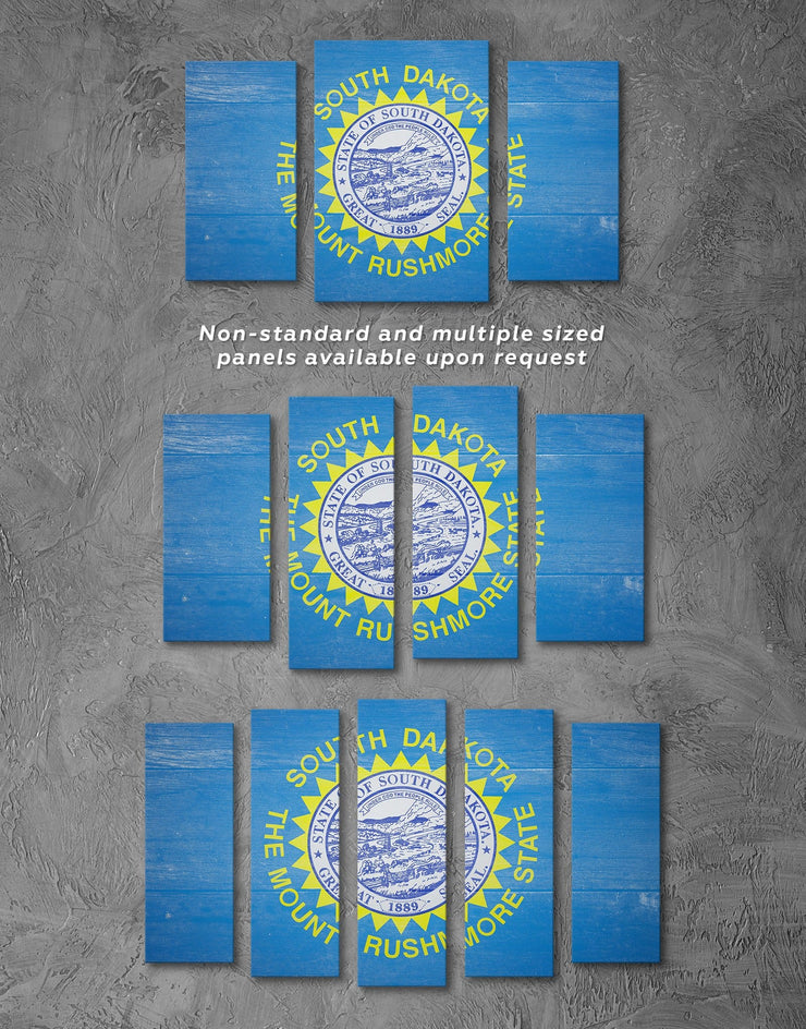 4 Panels South Dakota Flag Wall Art Canvas Print - 4 Panels blue flag wall art Hallway Living Room