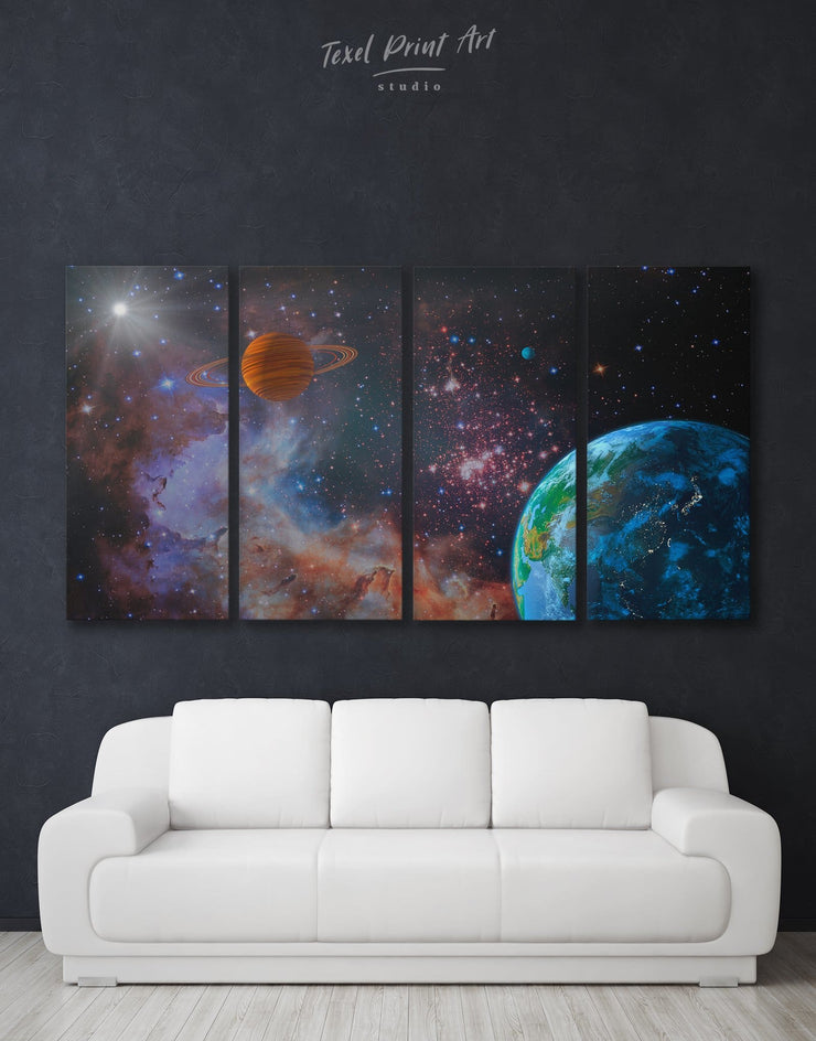 4 Panels Space Wall Art Canvas Print - 4 panels bedroom Constellations Wall Art game room Living Room