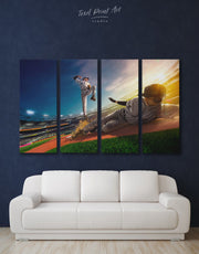 4 Panels Sport Game Wall Art Canvas Print