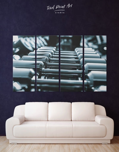 4 Panels Sports Themed Wall Art Canvas Print - 4 Panels bachelor pad Black black and grey wall art black and silver wall art