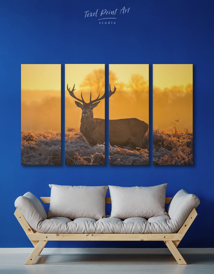 4 Panels Stag Wall Art Canvas Print - 4 panels Animal bedroom deer wall art Living Room