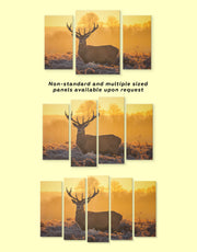 4 Panels Stag Wall Art Canvas Print