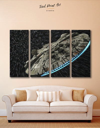 4 Panels Star Wars Millennium Falcon Wall Art Canvas Print - 4 Panels bedroom black and grey wall art Hallway Kitchen