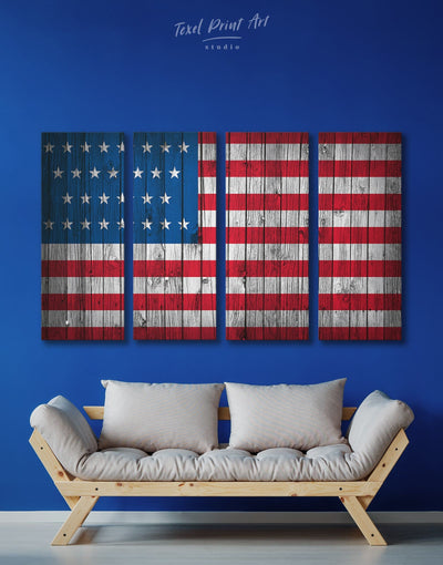 4 Panels Stars and Stripes US Flag Wall Art Canvas Print - 4 Panels American flag Blue Flag Wall Art Living Room