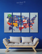 4 Panels State Flags Map Wall Art Canvas Print