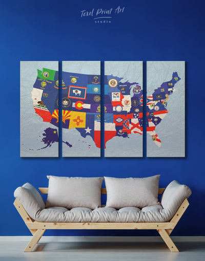 4 Panels State Flags Map Wall Art Canvas Print - 4 Panels Abstract Country Map Flag Wall Art Living Room