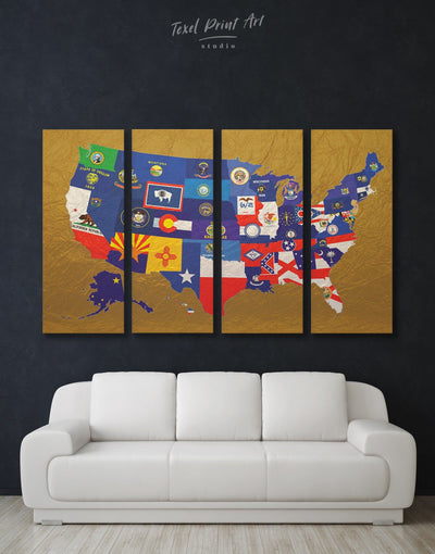 4 Panels State Flags Wall Art Canvas Print - 4 Panels Abstract Country Map Flag Wall Art Gold