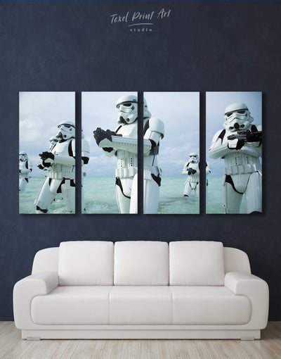 4 Panels Stormtrooper Wall Art Canvas Print - 4 Panels bachelor pad bedroom Black Blue
