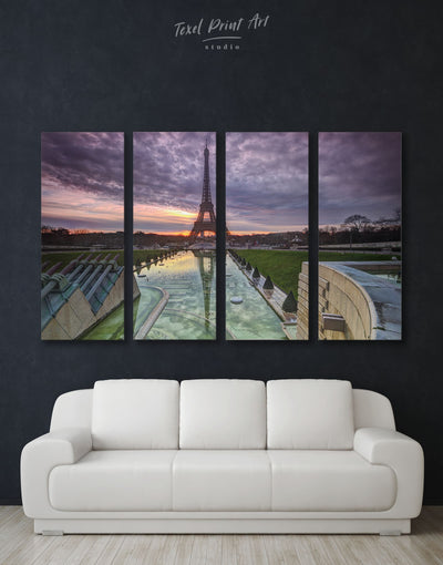 4 Panels Stylish Paris Cityscape Wall Art Canvas Print - 4 Panels bedroom City Skyline Wall Art Cityscape eiffel tower wall art
